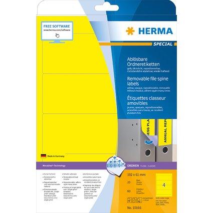 HERMA Ordnerrücken-Etiketten SPECIAL, 192 x 61 mm, gelb