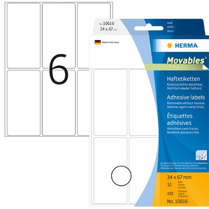 """HERMA Etiketten """"Movables"""" 34 x 67 mm, zur Handbeschriftung"""
