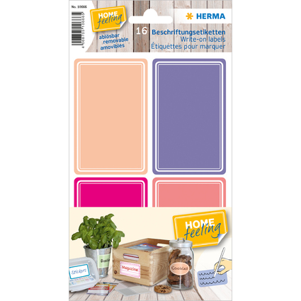 HERMA Beschriftungsetiketten HOME, pink / lila, 52 x 82 mm