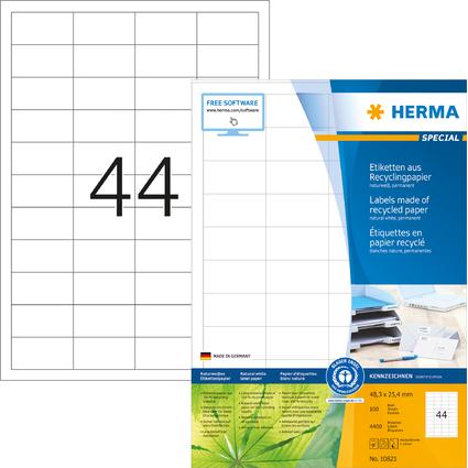 HERMA Universal-Etiketten Recycling, 48,3 x 25,4 mm