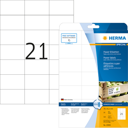 HERMA Power Etiketten SPECIAL, 70 x 42,3 mm, weiß