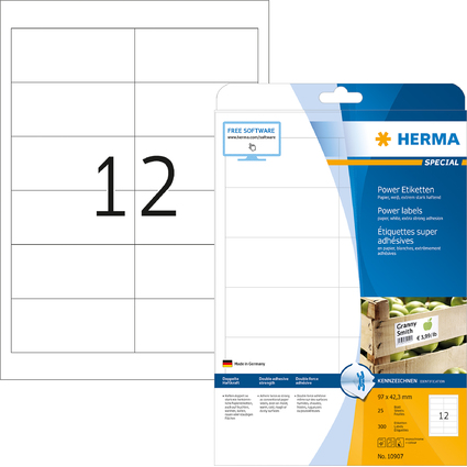 HERMA Power Etiketten SPECIAL, 97,0 x 42,3 mm, weiß