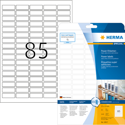 HERMA Power Etiketten SPECIAL, 37 x 13 mm, weiß