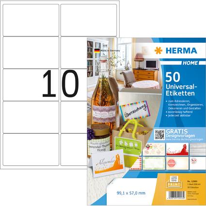 HERMA HOME Universal-Etiketten, 99,1 x 57,0 mm, weiß