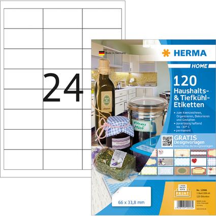HERMA HOME Haushalts-/Tiefkühl-Etiketten, 66 x 33,8 mm, weiß