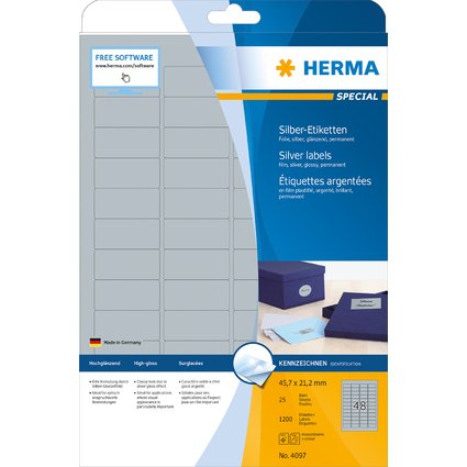 HERMA Folien-Etiketten SPECIAL, 45,7 x 21,2 mm, silber
