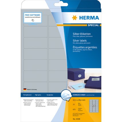 HERMA Folien-Etiketten SPECIAL, 63,5 x 29,6 mm, silber