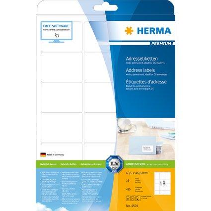 HERMA Universal-Etiketten PREMIUM, 63,5 x 46,6 mm, weiß
