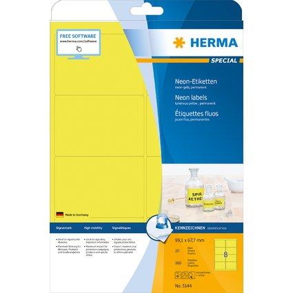 HERMA Universal-Etiketten SPECIAL, 99,1 x 67,7 mm, neon-gelb