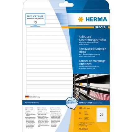HERMA Ablösbare Beschriftungsstreifen, 192 x 10 mm, weiß