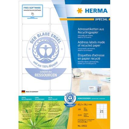 HERMA Universal-Etiketten Recycling, 63,5 x 38,1 mm