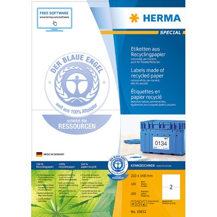 HERMA Universal-Etiketten Recycling, 210 x 148 mm