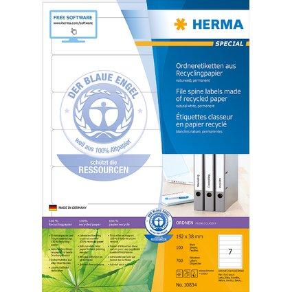 HERMA Ordnerrücken-Etiketten Recycling, 192 x 38 mm