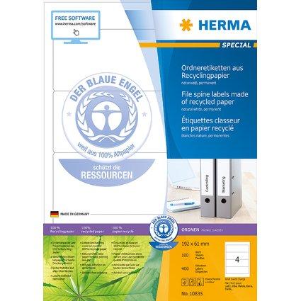 HERMA Ordnerrücken-Etiketten Recycling, 192 x 61 mm