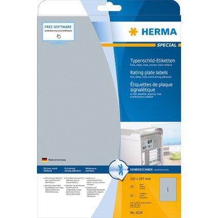 HERMA Typenschild-Etiketten SPECIAL, 210 x 297 mm, silber