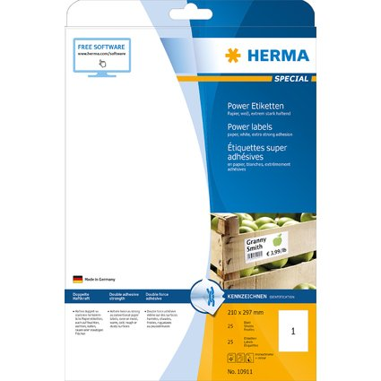 HERMA Power Etiketten SPECIAL, 210 x 297 mm, weiß