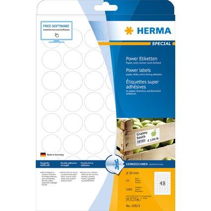 HERMA Power Etiketten SPECIAL, Durchmesser: 30 mm, weiß
