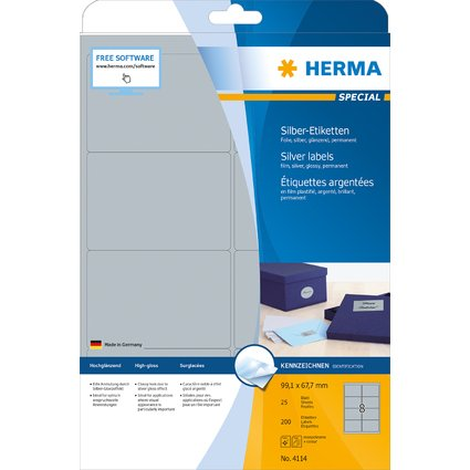 HERMA Folien-Etiketten SPECIAL, 99,1 x 67,7 mm, silber