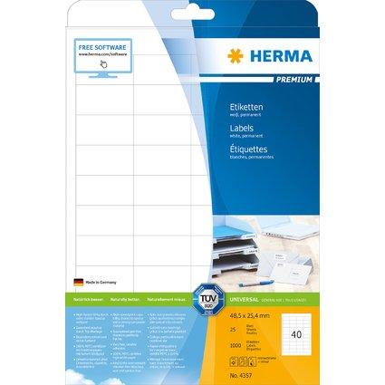 HERMA Universal-Etiketten PREMIUM, 48,5 x 25,4 mm, weiß