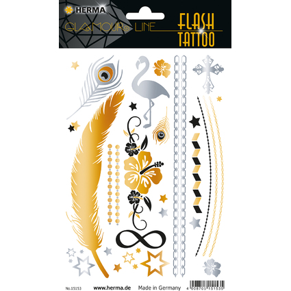 "HERMA FLASH Tattoo ""Star"", Gold und Silber"