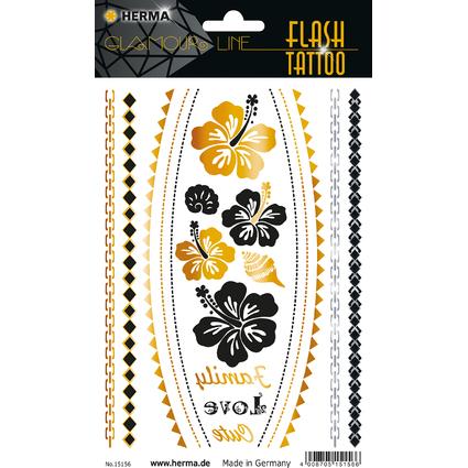 """HERMA FLASH Tattoo """"Flower"""", Gold und Silber"""