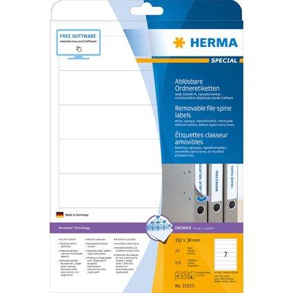 HERMA Ordnerrücken-Etiketten SPECIAL, 192 x 38 mm, weiß