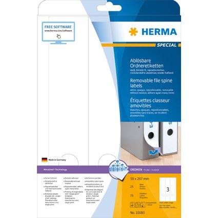 HERMA Ordnerrücken-Etiketten SPECIAL, 59 x 297 mm, weiß