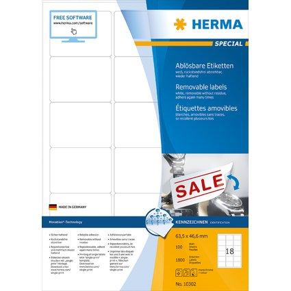 HERMA Universal-Etiketten SPECIAL, 63,5 x 46,6 mm, weiß