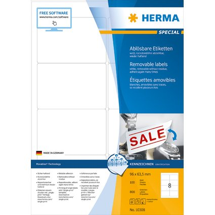 HERMA Universal-Etiketten SPECIAL, 96 x 63,5 mm, weiß