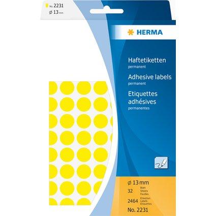HERMA Markierungspunkte, Durchmesser: 13 mm, gelb