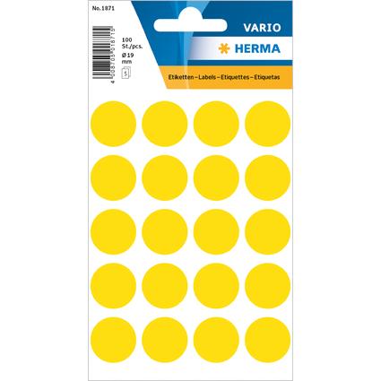 HERMA Markierungspunkte, Durchmesser: 19 mm, gelb