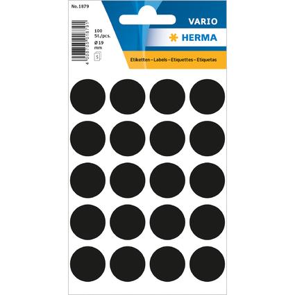 HERMA Markierungspunkte, Durchmesser: 19 mm, schwarz