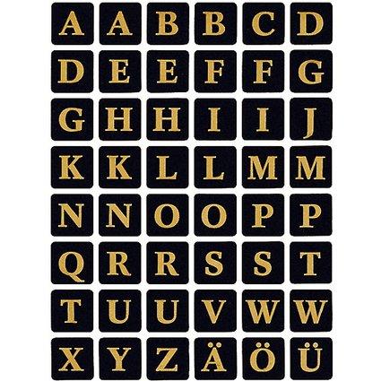 HERMA Buchstaben-Sticker A-Z, Folie geprägt, schwarz/gold