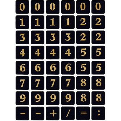 HERMA Zahlen-Sticker 0-9, Folie geprägt, gold auf schwarz