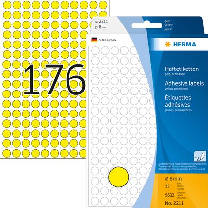 HERMA Markierungspunkte, Durchmesser: 8 mm, gelb,