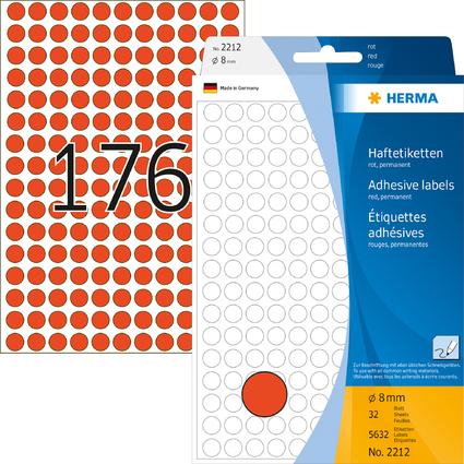 HERMA Markierungspunkte, Durchmesser: 8 mm, rot