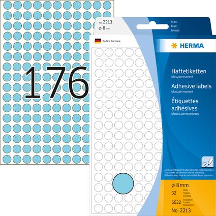 HERMA Markierungspunkte, Durchmesser: 8 mm, blau,