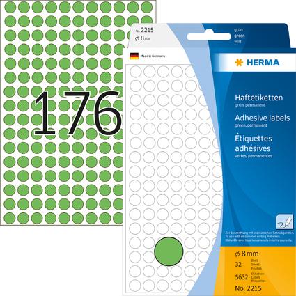 HERMA Markierungspunkte, Durchmesser: 8 mm, grün