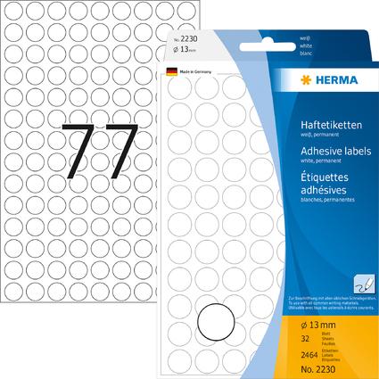 HERMA Markierungspunkte, Durchmesser: 13 mm, weiß