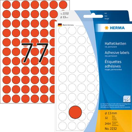 HERMA Markierungspunkte, Durchmesser: 13 mm, rot