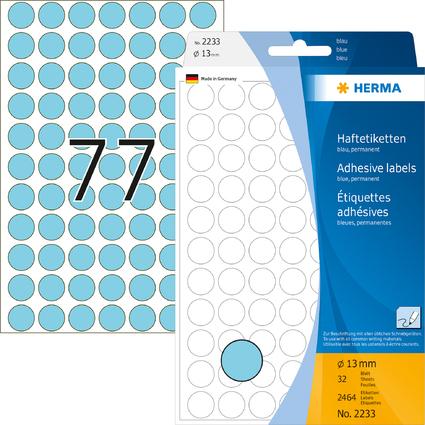 HERMA Markierungspunkte, Durchmesser: 13 mm, blau