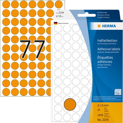 HERMA Markierungspunkte, Durchmesser: 13 mm, leuchtorange