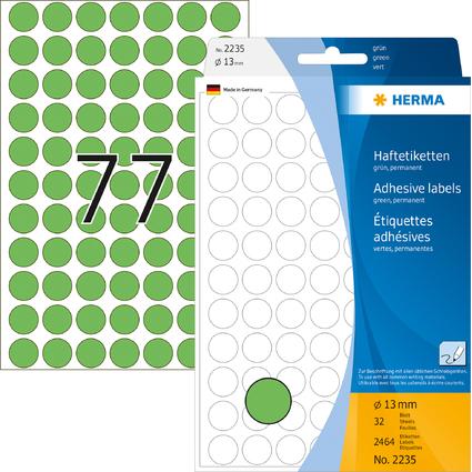 HERMA Markierungspunkte, Durchmesser: 13 mm, grün