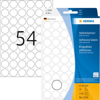 HERMA Markierungspunkte, Durchmesser: 16 mm, weiß