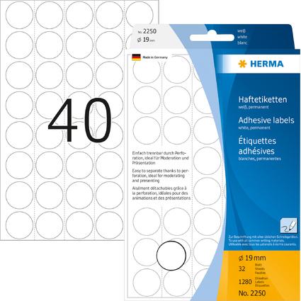 HERMA Markierungspunkte, Durchmesser: 19 mm, weiß