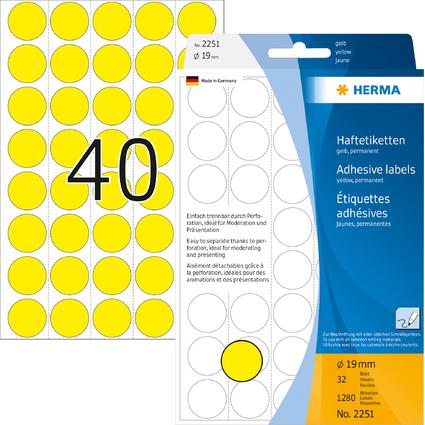 HERMA Markierunspunkte, Durchmesser: 19 mm, gelb