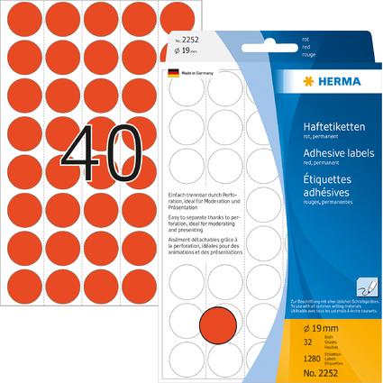 HERMA Markierungspunkte, Durchmesser: 19 mm, rot