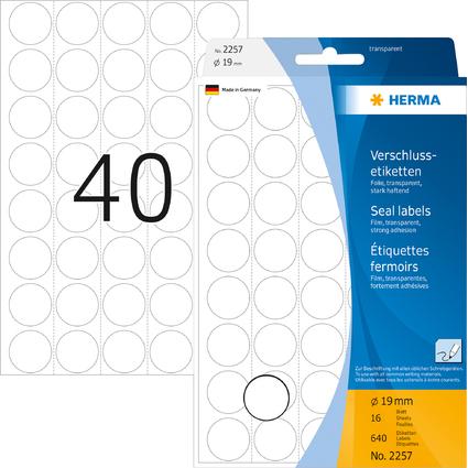 HERMA Verschlußetiketten, Durchmesser: 19 mm, transparent
