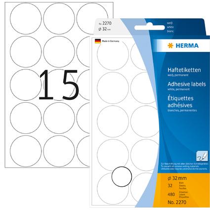 HERMA Markierunspunkte, Durchmesser: 32 mm, weiß