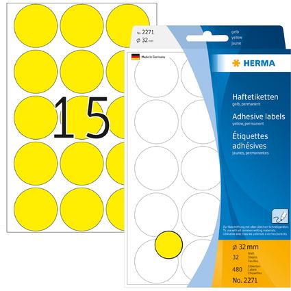 HERMA Markierungspunkte, Durchmesser: 32 mm, gelb